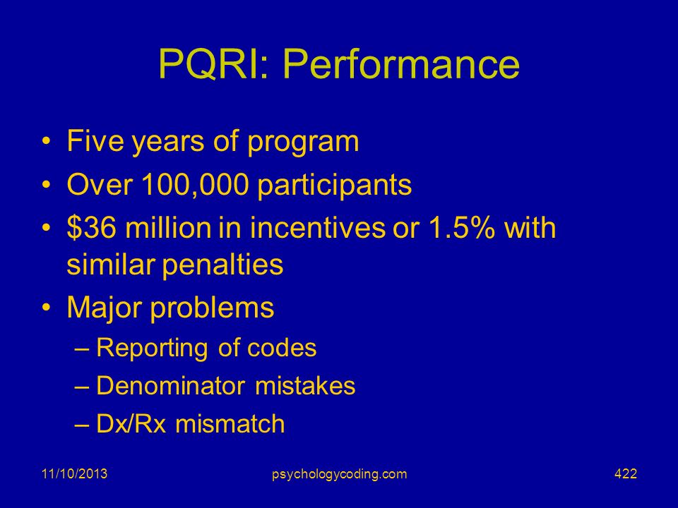 PQRI: Performance Five years of program Over 100,000 participants