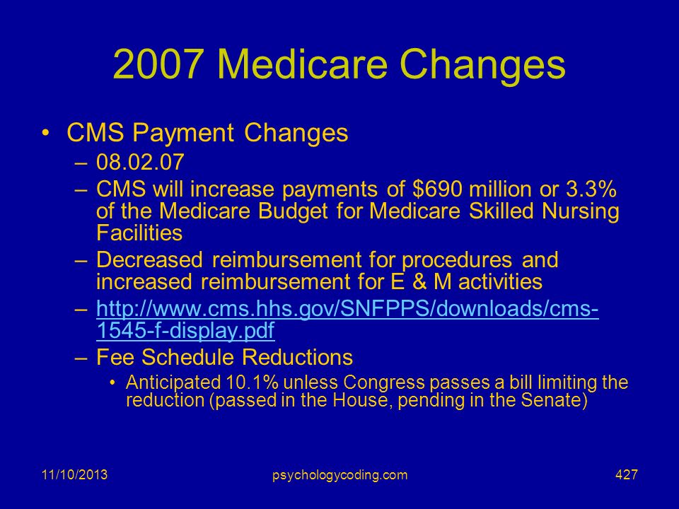 2007 Medicare Changes CMS Payment Changes 08.02.07