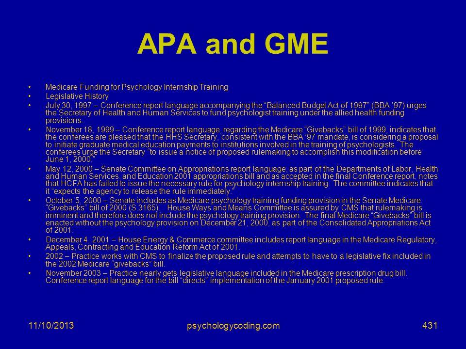 APA and GME 3/25/2017 psychologycoding.com
