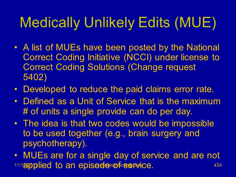 Medically Unlikely Edits (MUE)
