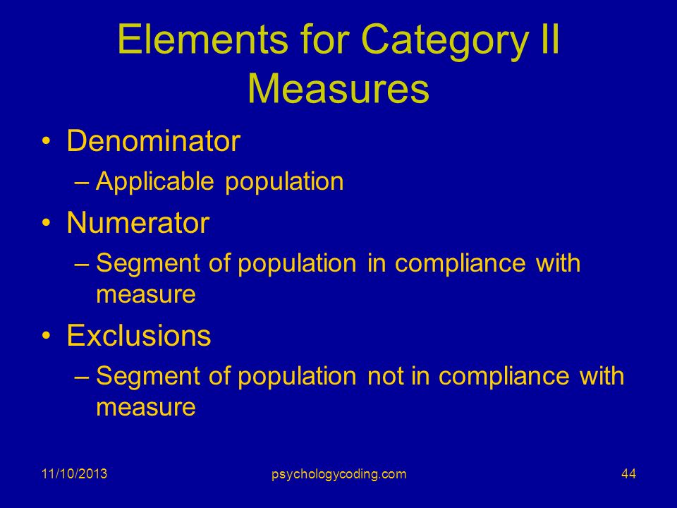 Elements for Category II Measures