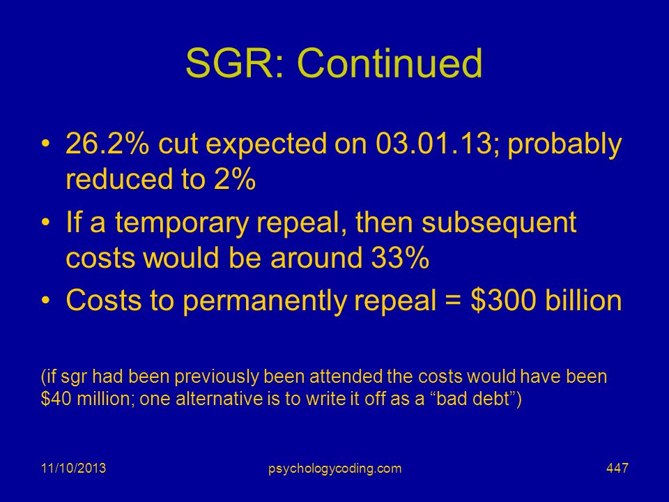SGR: Continued 26.2% cut expected on ; probably reduced to 2%