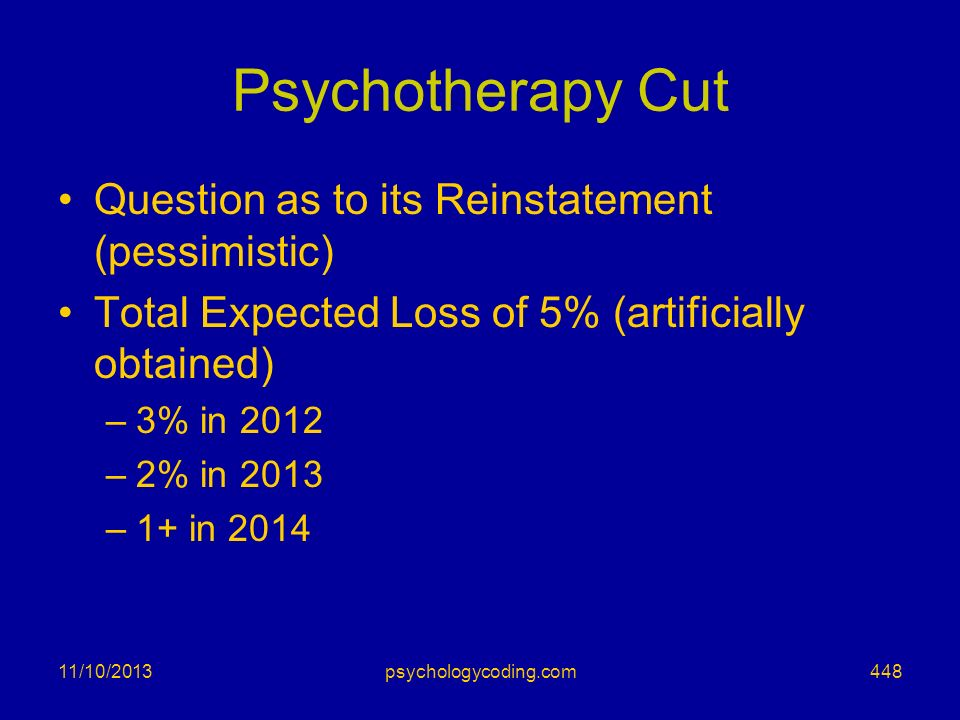 Psychotherapy Cut Question as to its Reinstatement (pessimistic)