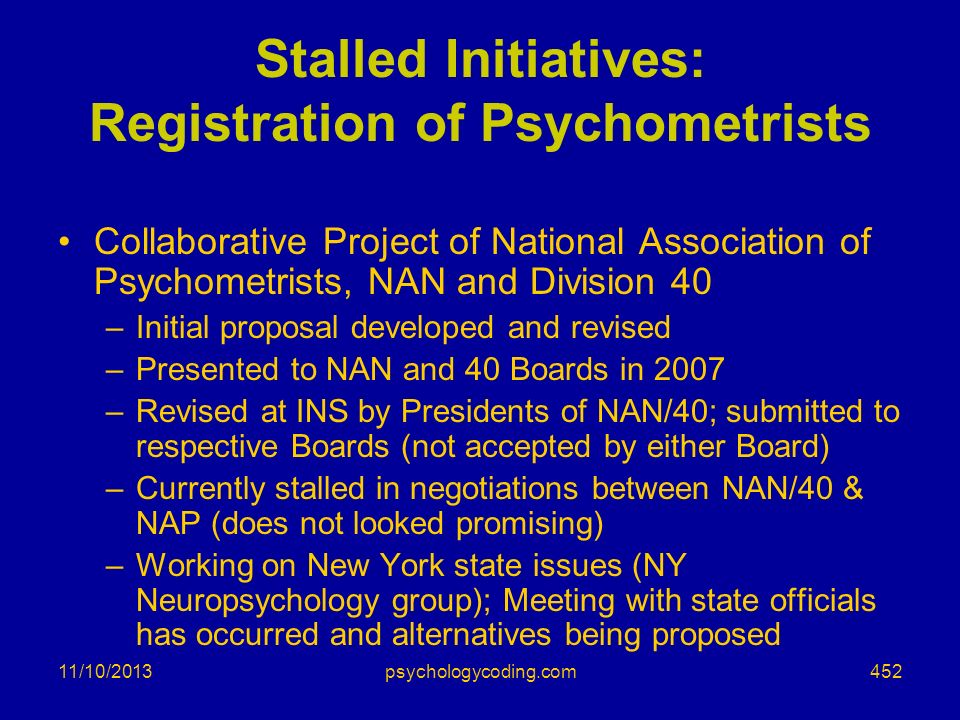 Stalled Initiatives: Registration of Psychometrists