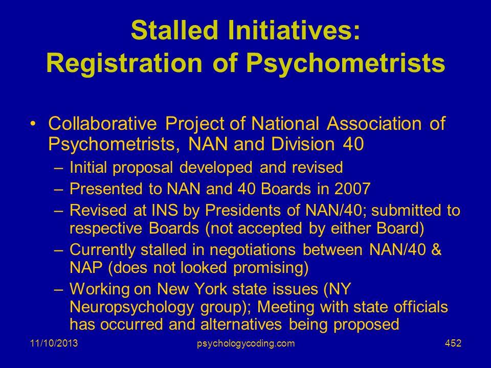 Stalled Initiatives: Registration of Psychometrists