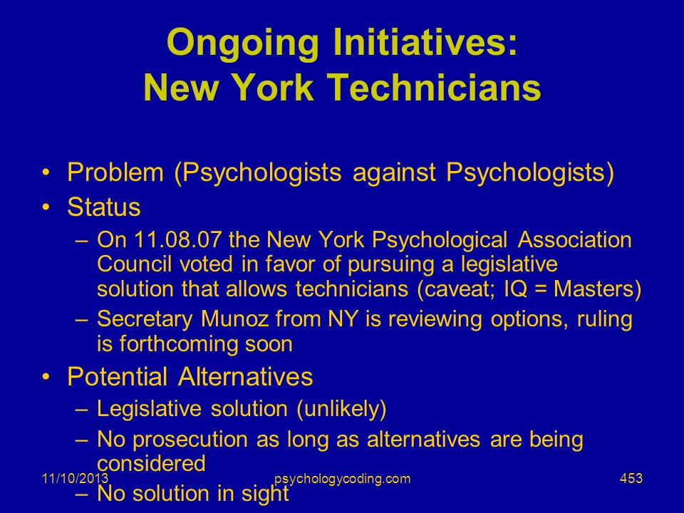 Ongoing Initiatives: New York Technicians
