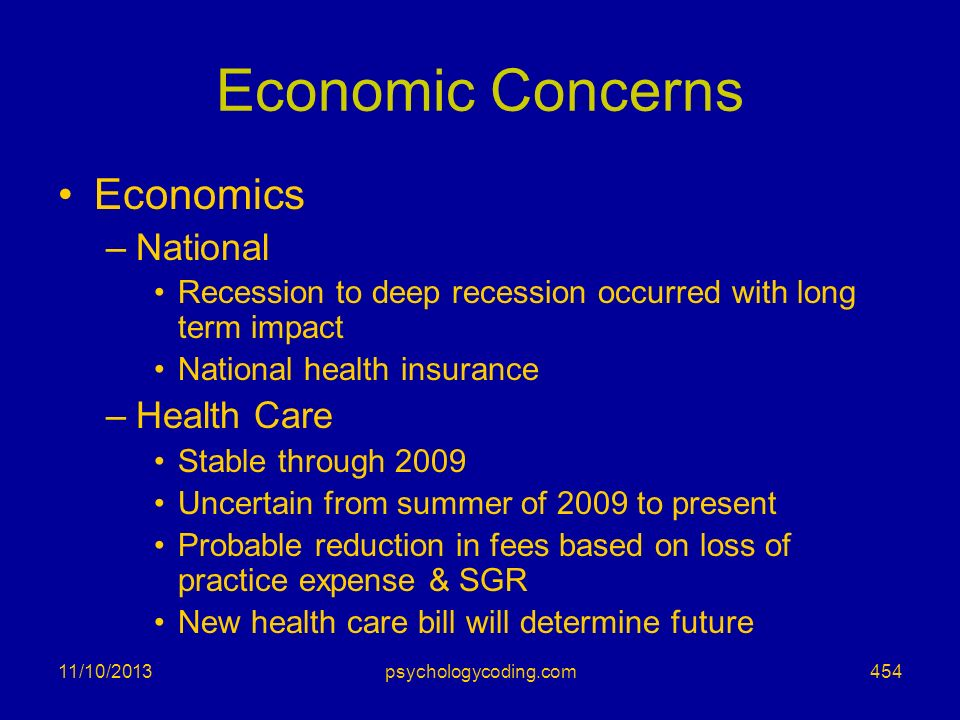 Economic Concerns Economics National Health Care