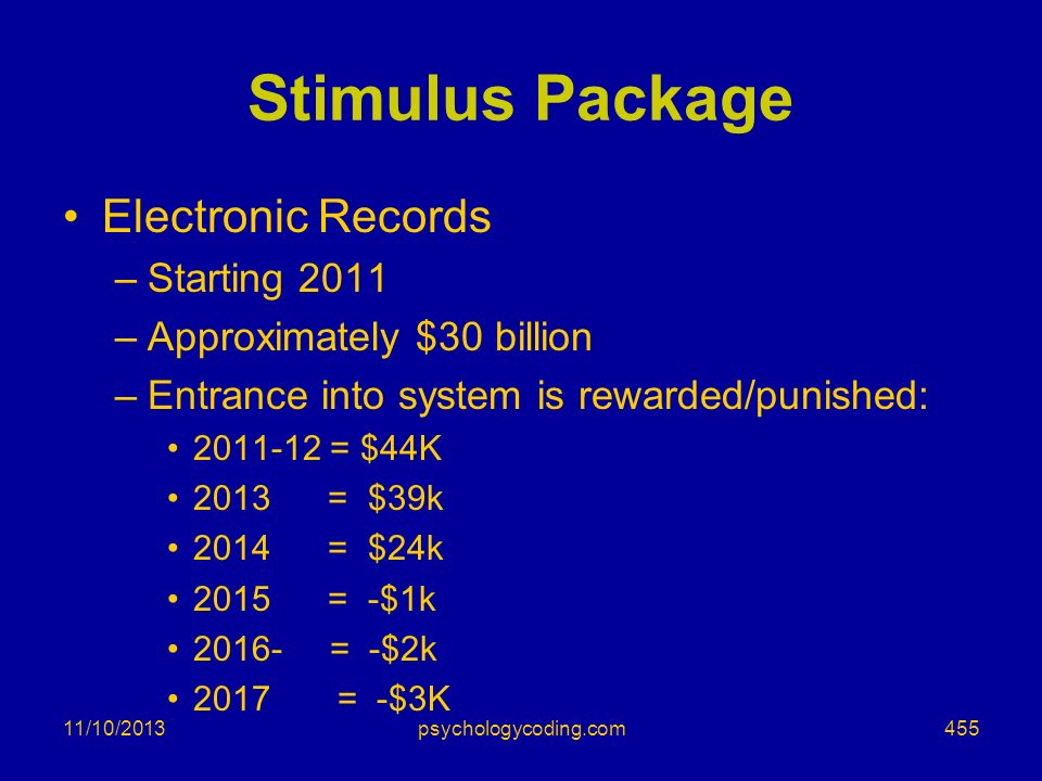 Stimulus Package Electronic Records Starting 2011