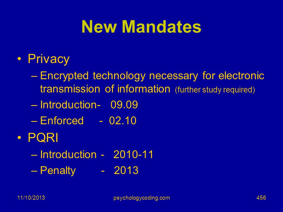 New Mandates Privacy PQRI