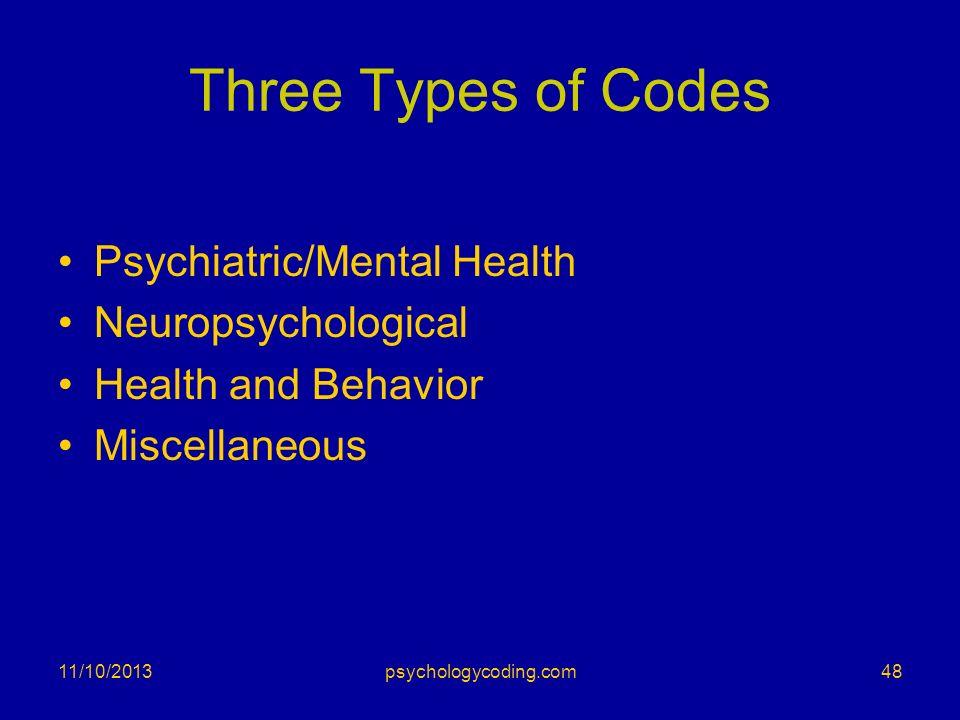 Three Types of Codes Psychiatric/Mental Health Neuropsychological