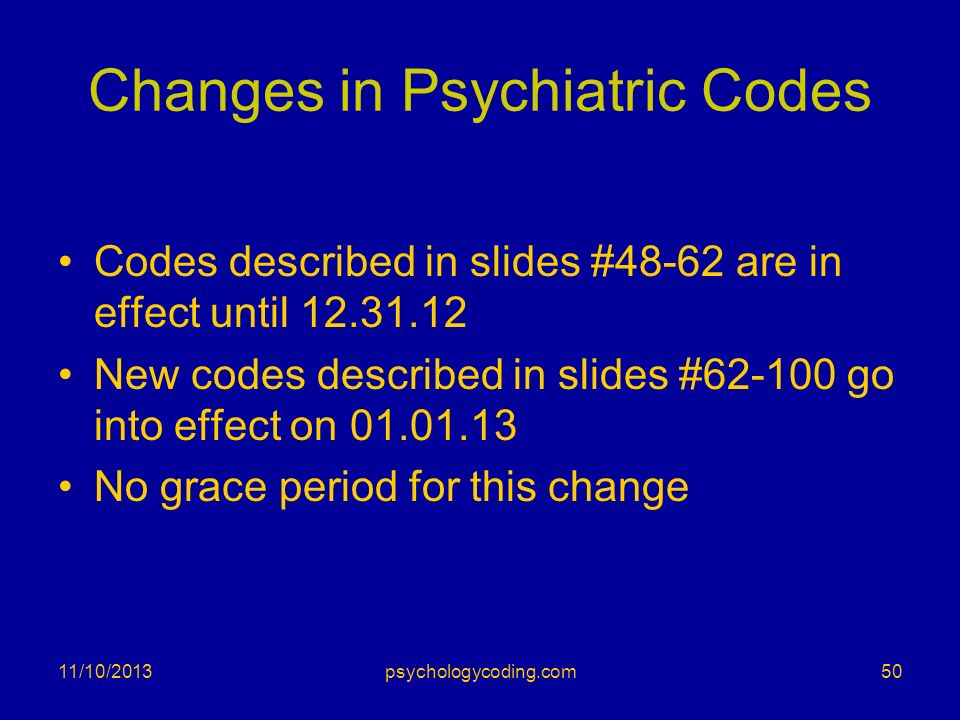 Changes in Psychiatric Codes