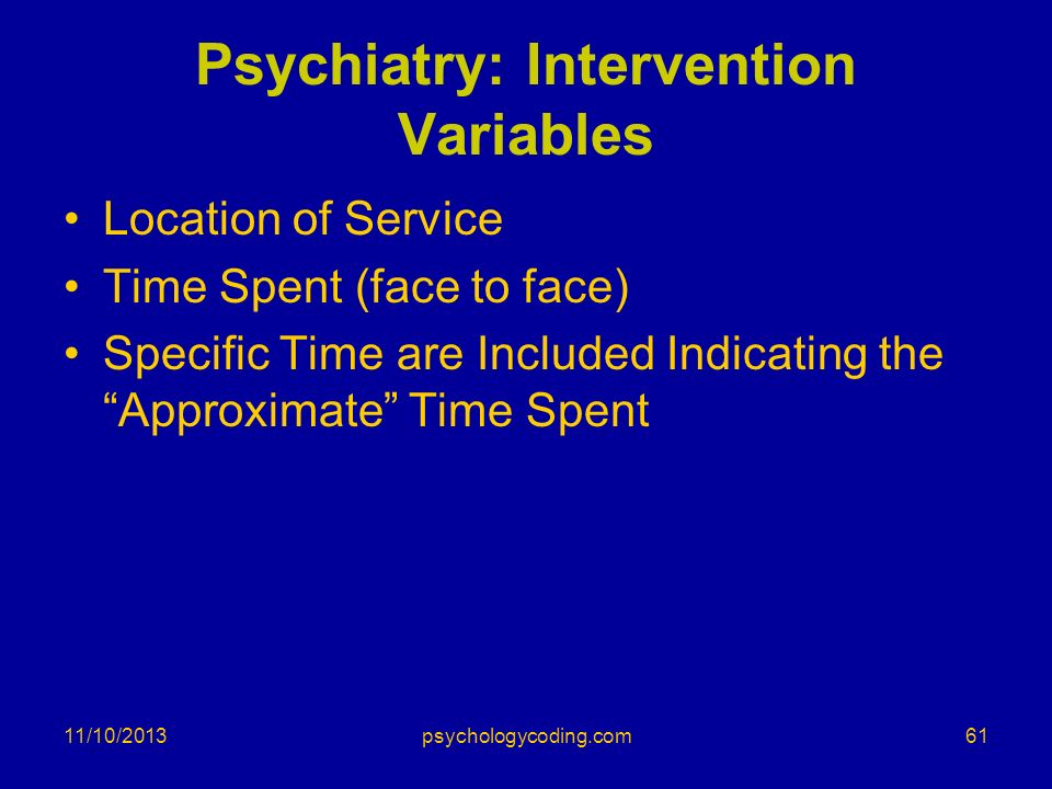 Psychiatry: Intervention Variables