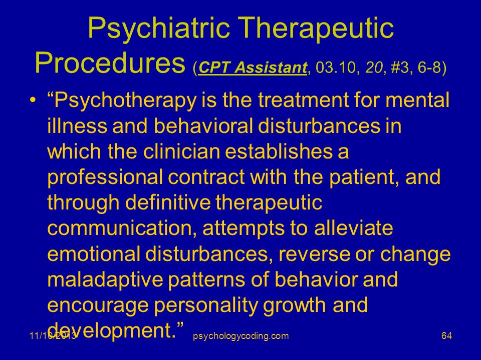 Psychiatric Therapeutic Procedures (CPT Assistant, 03.10, 20, #3, 6-8)