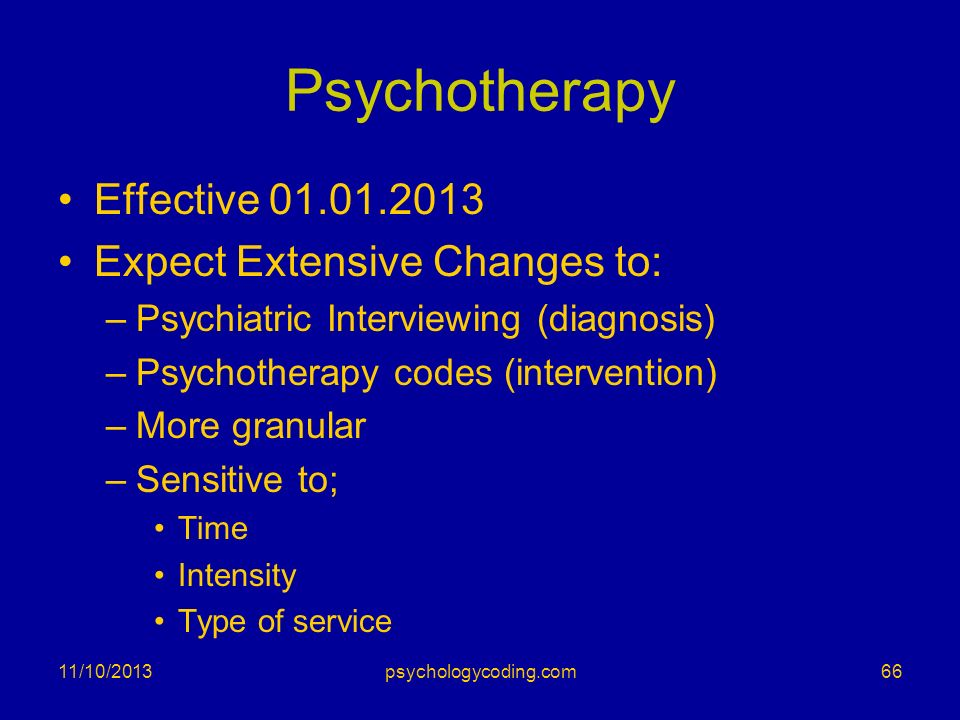 Psychotherapy Effective 01.01.2013 Expect Extensive Changes to: