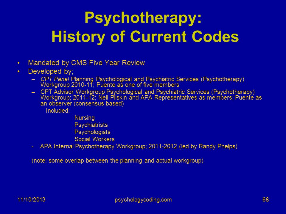 Psychotherapy: History of Current Codes