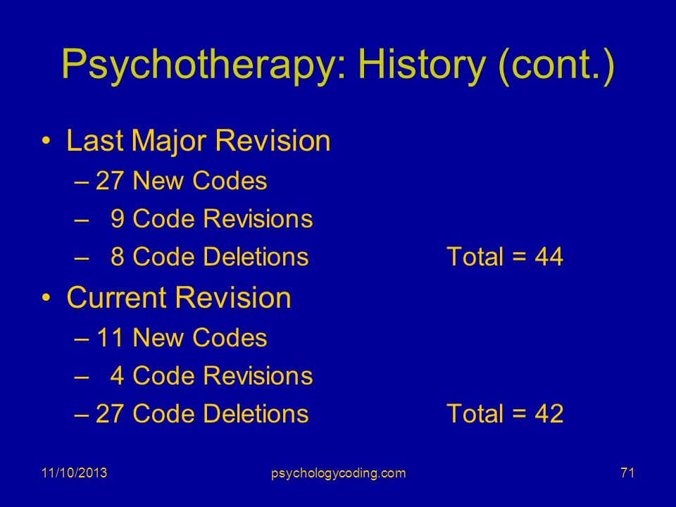 Psychotherapy: History (cont.)