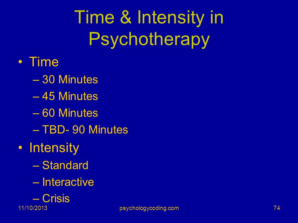 Time & Intensity in Psychotherapy