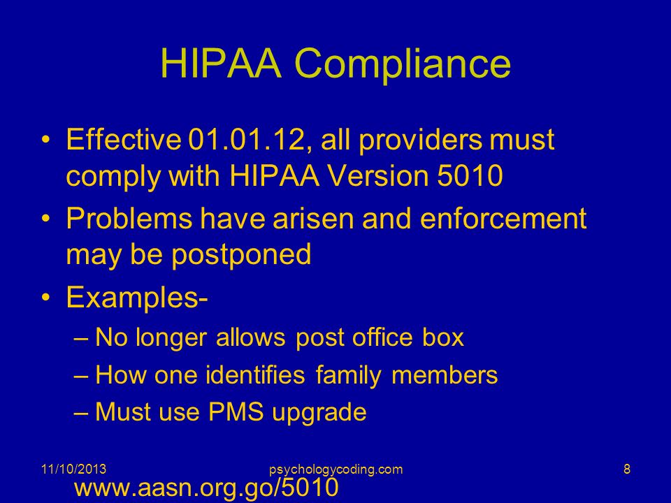 HIPAA Compliance Effective , all providers must comply with HIPAA Version Problems have arisen and enforcement may be postponed.