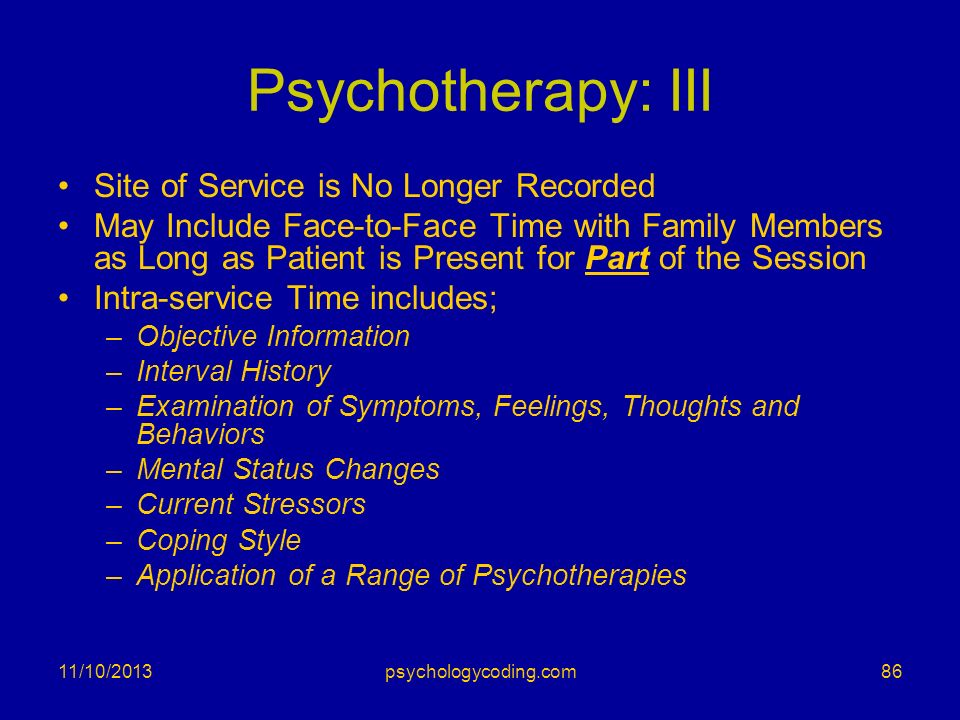 Psychotherapy: III Site of Service is No Longer Recorded