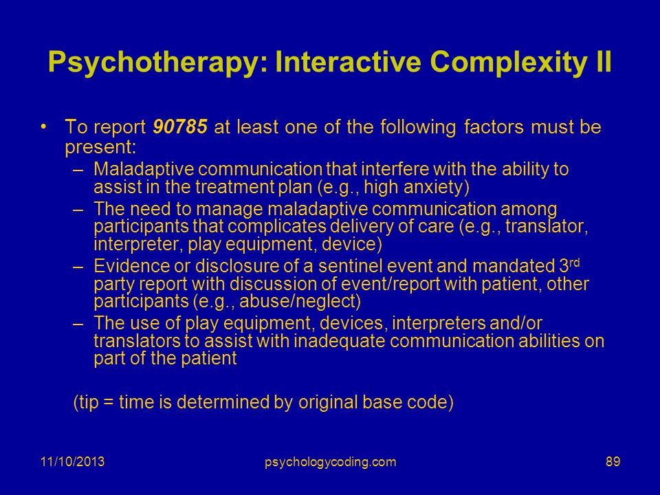 Psychotherapy: Interactive Complexity II