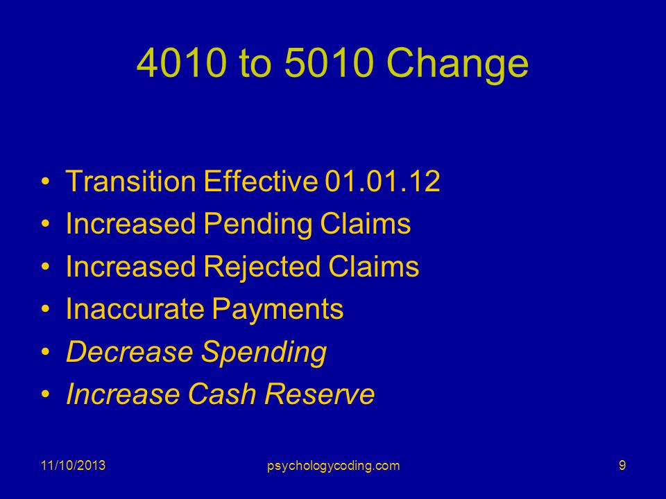 4010 to 5010 Change Transition Effective 01.01.12