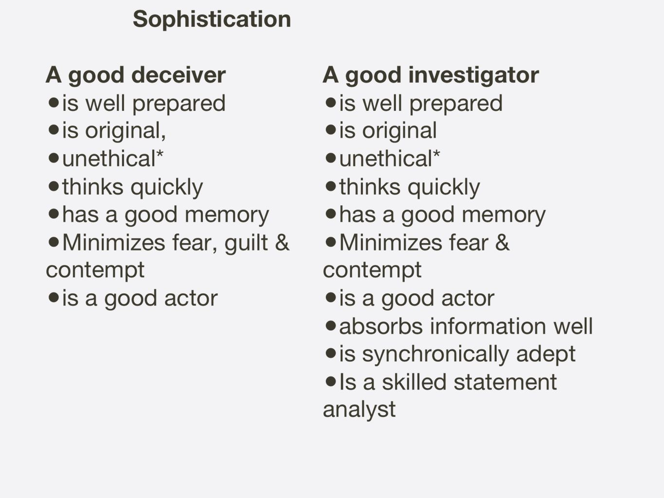 The dilemma for the investigator is that if s/he works within an ethical framework s/he will not function at as high logical levels as the deceiver and will have less ingenuity since thinking within ethical boundaries limits possible choices at any given moment in the interview.