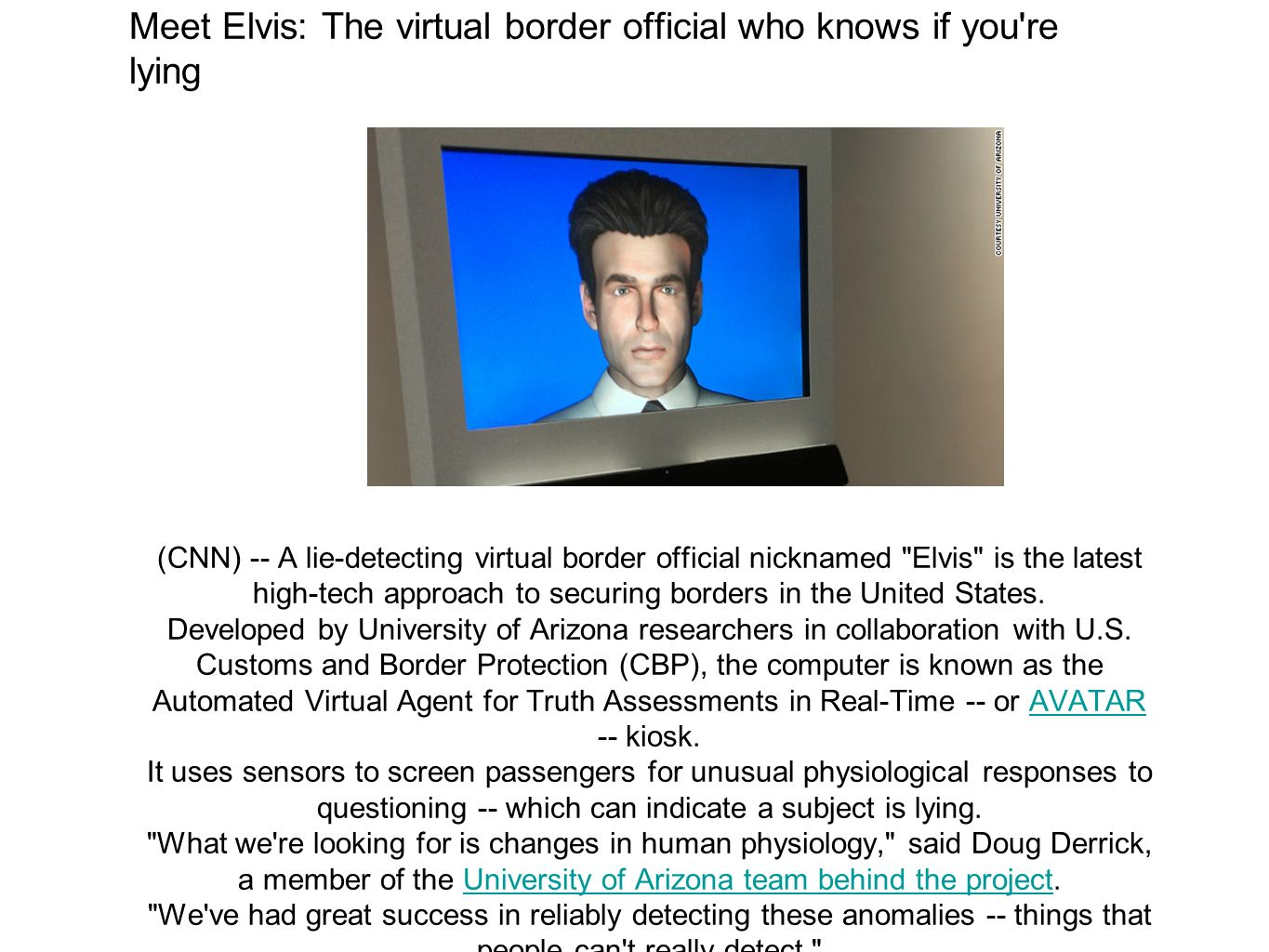 Meet Elvis: The virtual border official who knows if you re lying