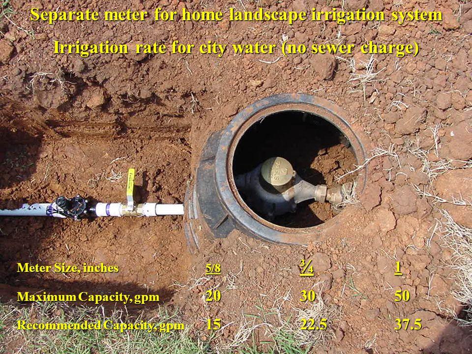Separate meter for home landscape irrigation system
