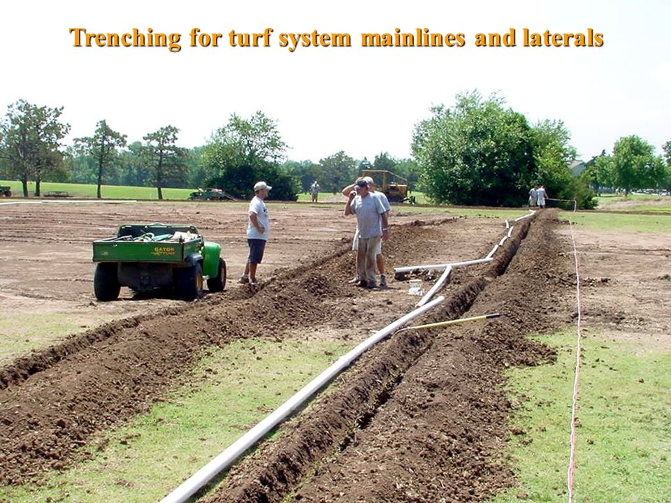 Trenching for turf system mainlines and laterals