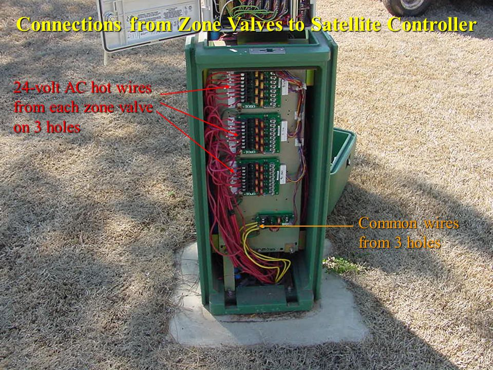 Connections from Zone Valves to Satellite Controller