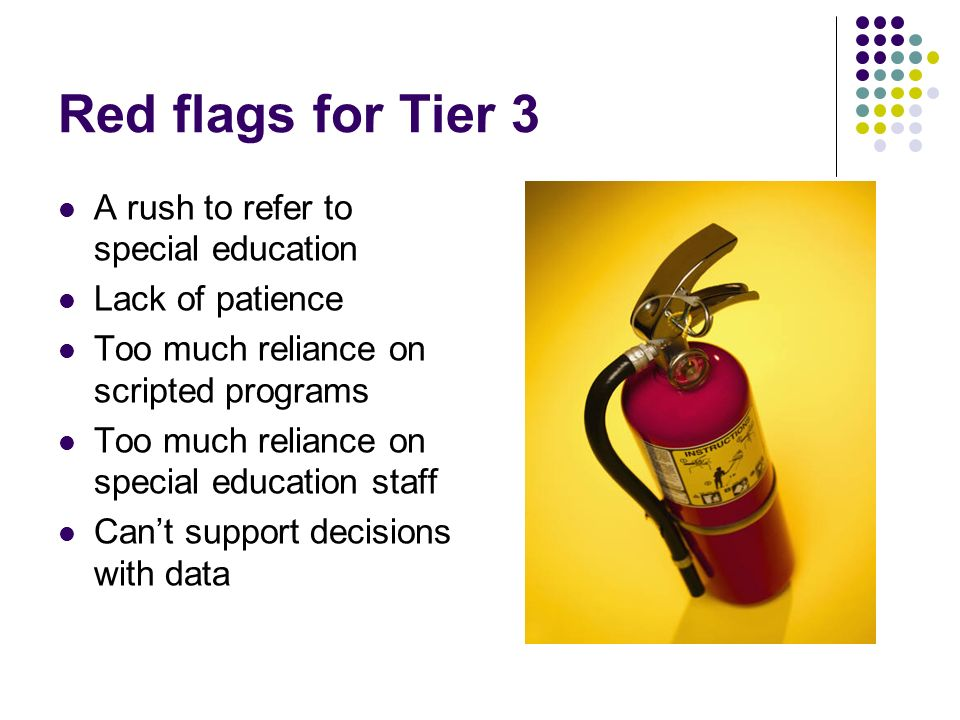 Red flags for Tier 3 A rush to refer to special education