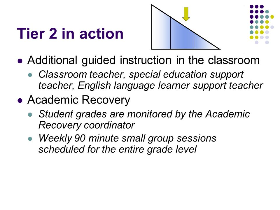 Tier 2 in action Additional guided instruction in the classroom