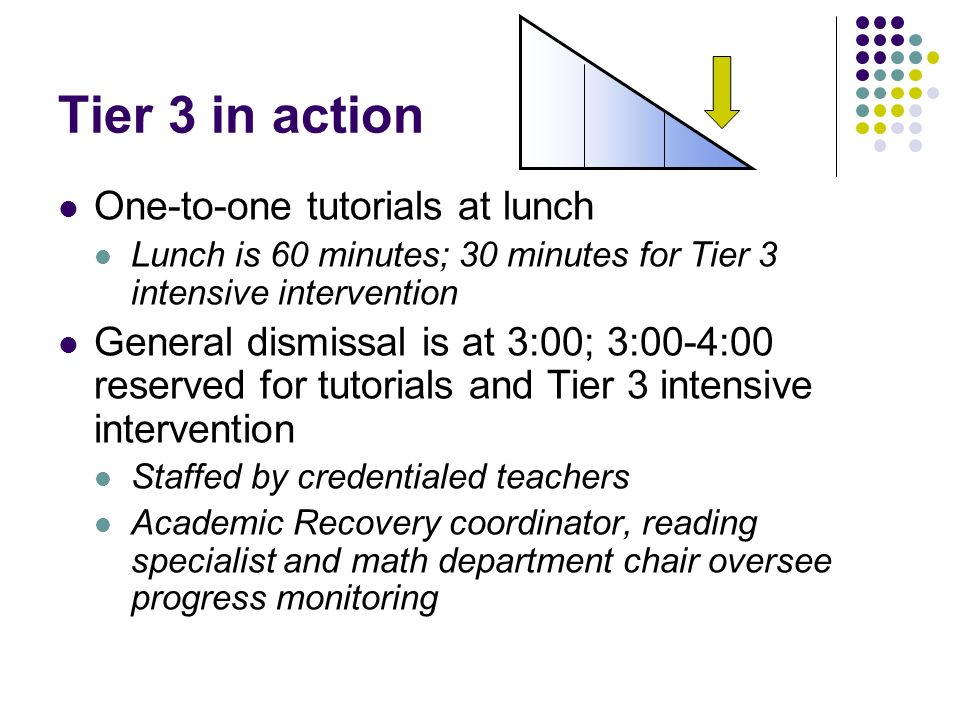 Tier 3 in action One-to-one tutorials at lunch