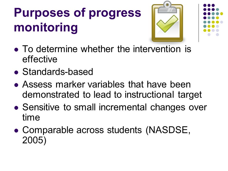 Purposes of progress monitoring