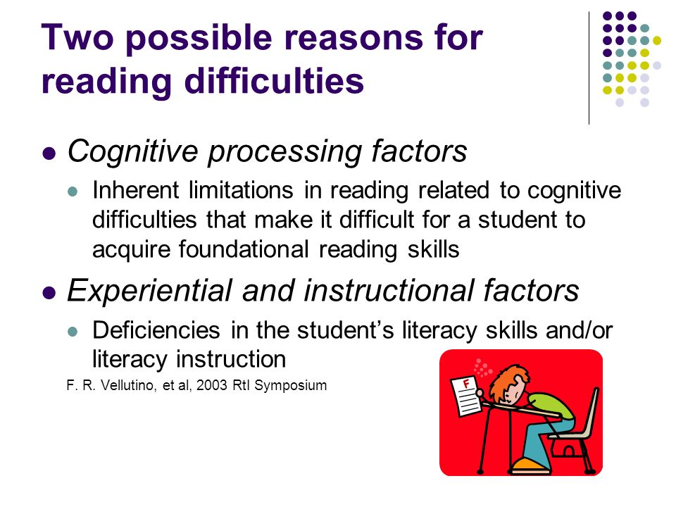 Two possible reasons for reading difficulties