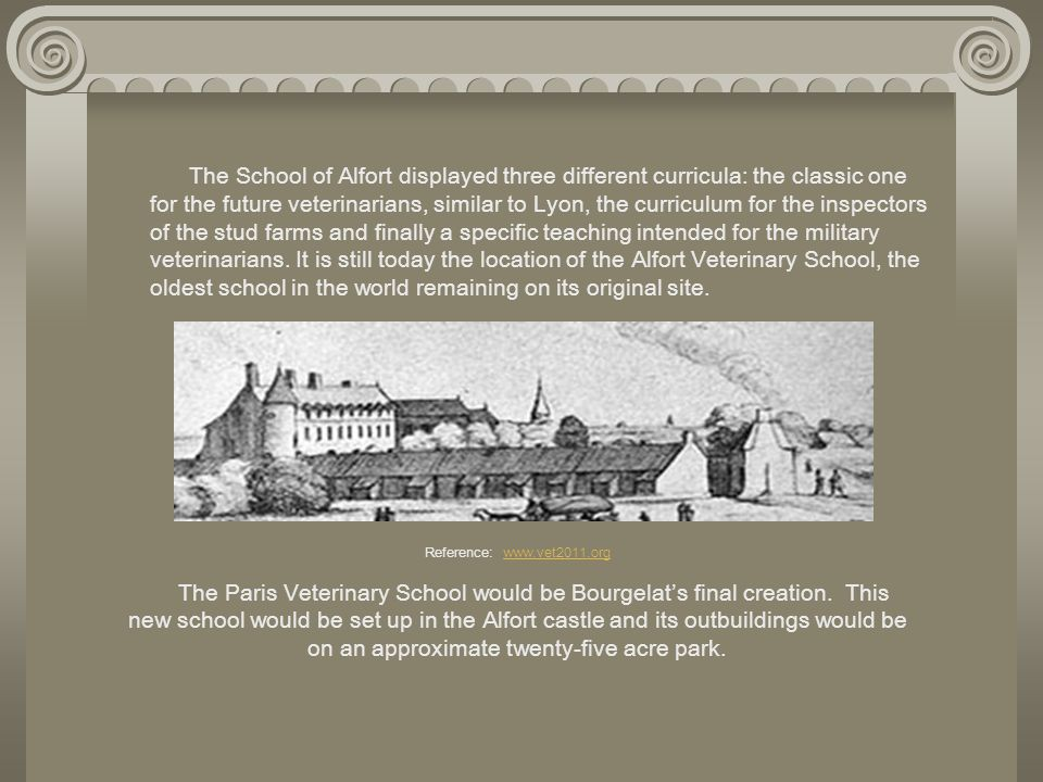 The School of Alfort displayed three different curricula: the classic one for the future veterinarians, similar to Lyon, the curriculum for the inspectors of the stud farms and finally a specific teaching intended for the military veterinarians. It is still today the location of the Alfort Veterinary School, the oldest school in the world remaining on its original site.