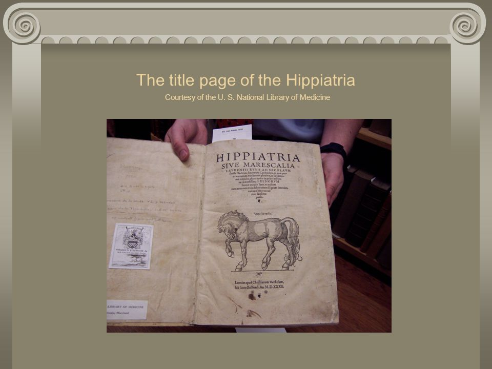 The title page of the Hippiatria Courtesy of the U. S