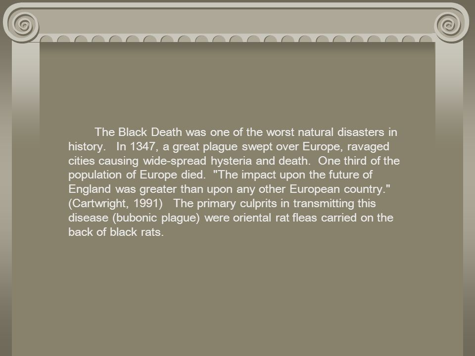 The Black Death was one of the worst natural disasters in history