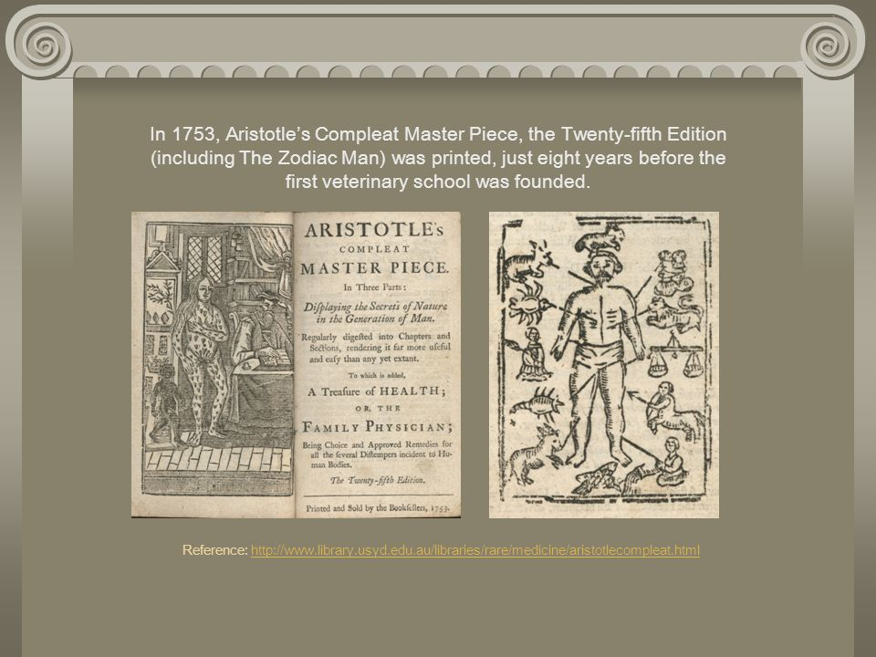In 1753, Aristotle's Compleat Master Piece, the Twenty-fifth Edition (including The Zodiac Man) was printed, just eight years before the first veterinary school was founded. Reference: http://www.library.usyd.edu.au/libraries/rare/medicine/aristotlecompleat.html