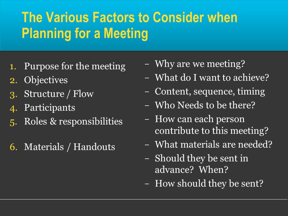 The Various Factors to Consider when Planning for a Meeting