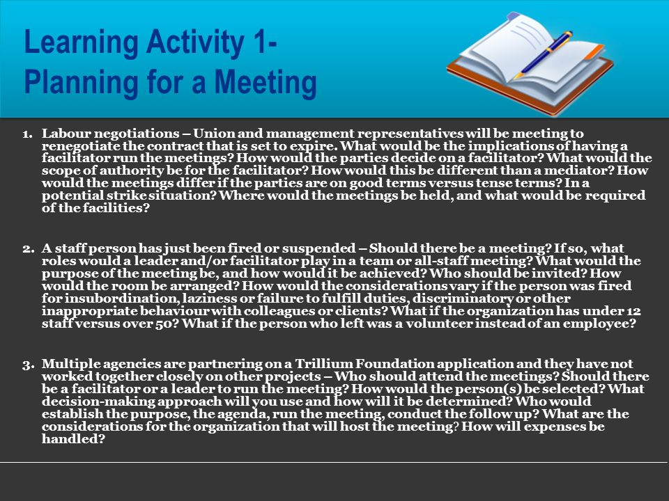 Learning Activity 1- Planning for a Meeting