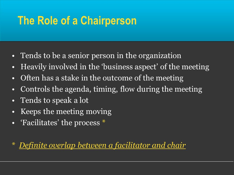The Role of a Chairperson