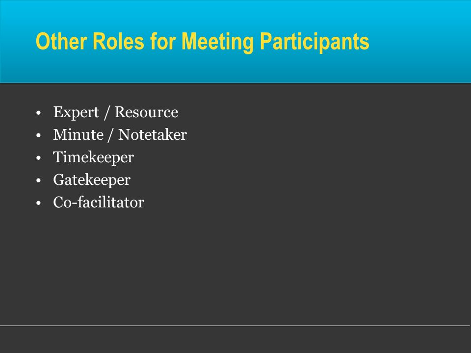 Other Roles for Meeting Participants