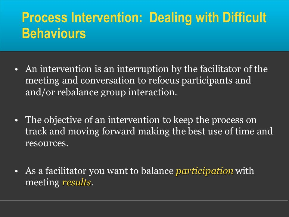 Process Intervention: Dealing with Difficult Behaviours