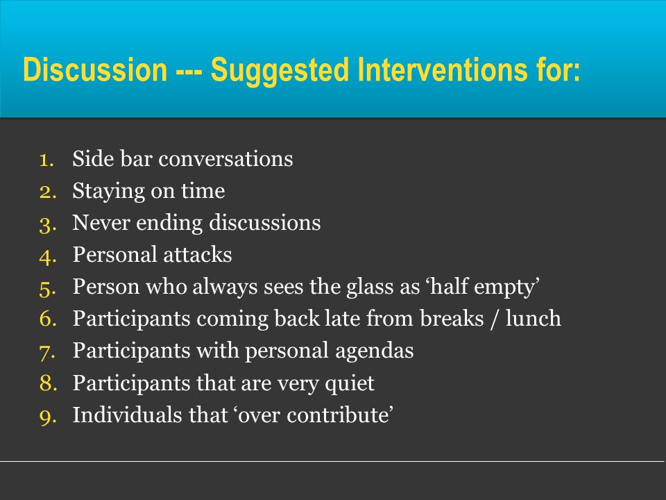 Discussion --- Suggested Interventions for:
