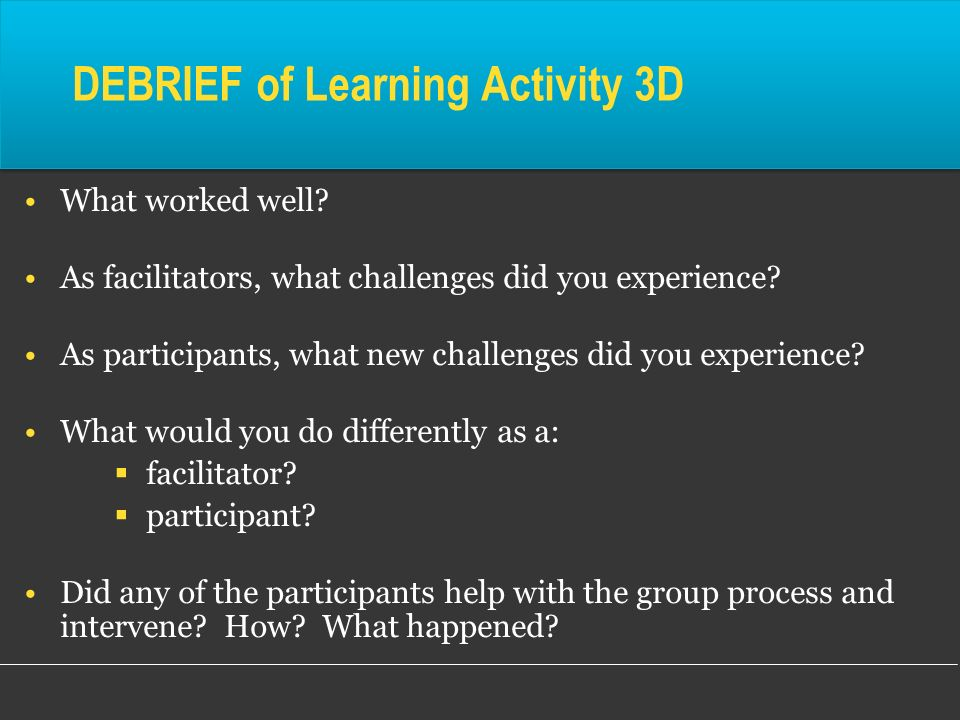 DEBRIEF of Learning Activity 3D
