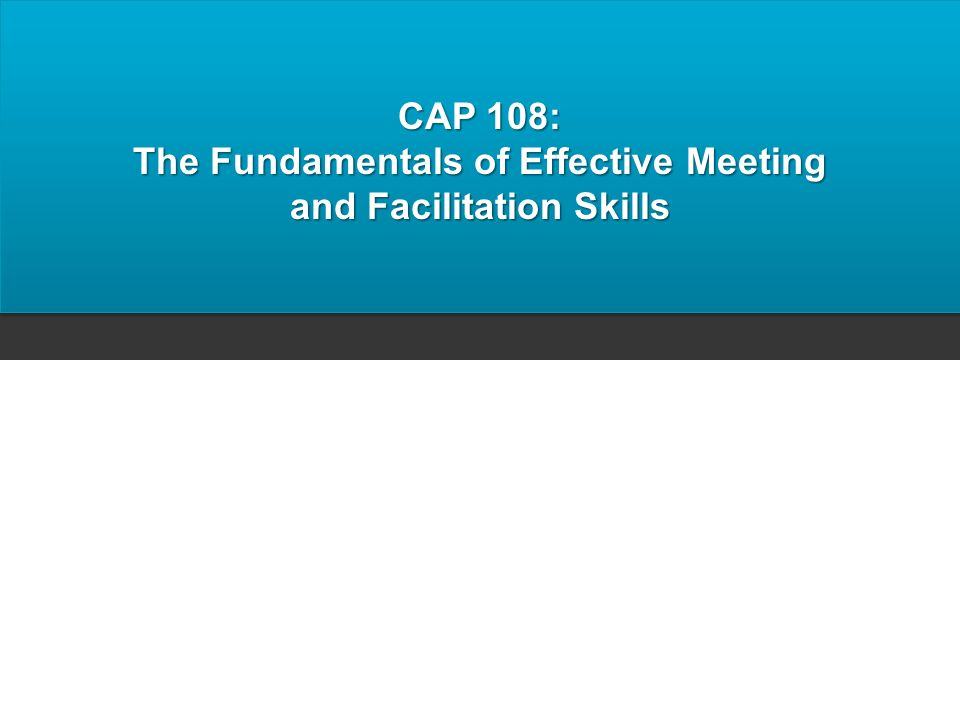 The Fundamentals of Effective Meeting and Facilitation Skills