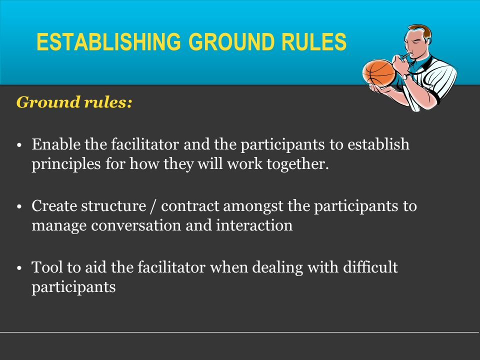 establishing the ground rules Establishing classroom ground rules to promote an environment of inclusion and respect for all contributions.