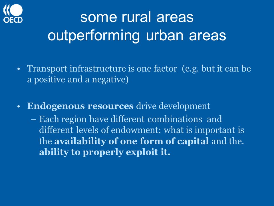 some rural areas outperforming urban areas