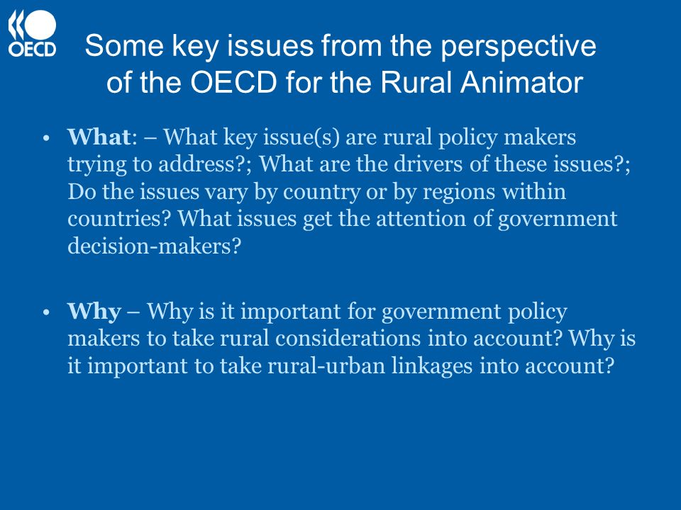 Some key issues from the perspective of the OECD for the Rural Animator